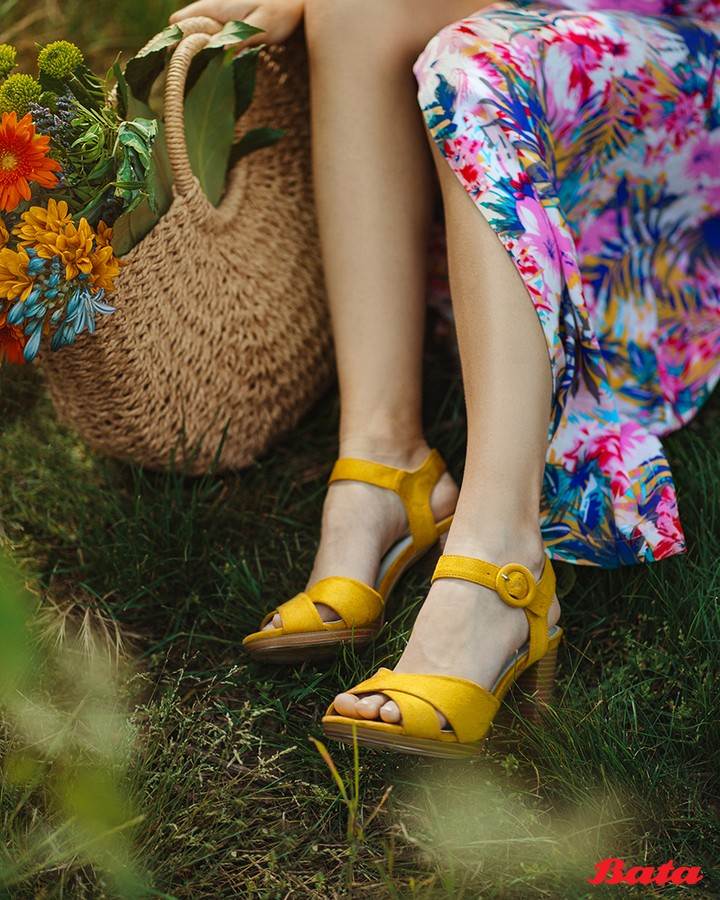 Bata Brands - Add some zest to your floral outfit with heels in bright & sunny shades.  . . . . .  #BataShoes #Heels #Summer #Floral #ShoesAddict #Yellow #Fashion