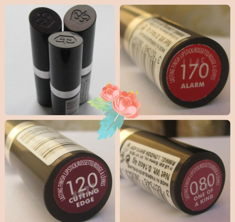 Помадная красота Rimmel Lasting Finish Lipstick в оттенках 170 Alarm, 120 Cutting Edge, 080 One of a Kind - отзыв
