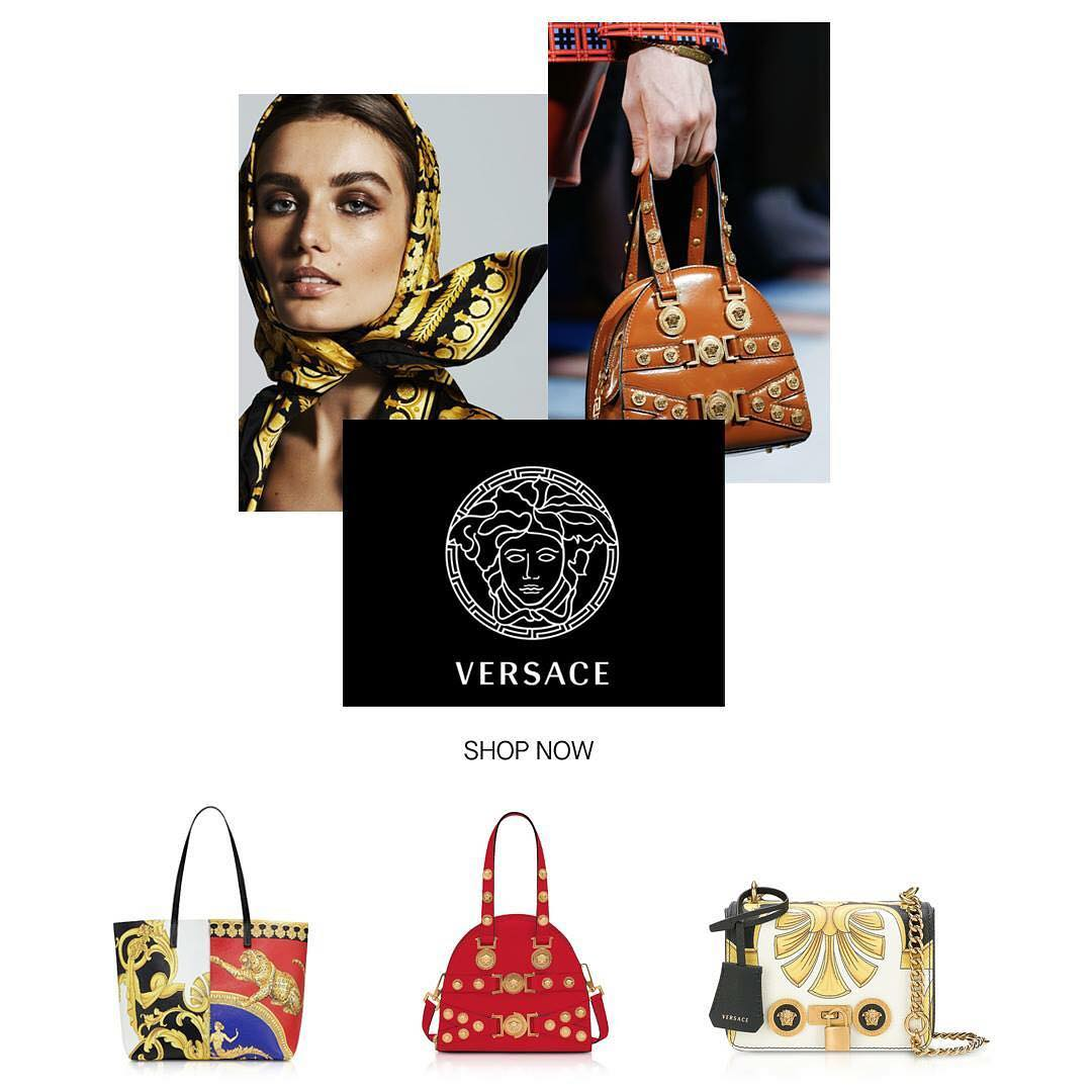 JustLounge - Vamps it up with exuberant glamour from Versace and enjoy up to 35% OFF. Shop now at Justlounge. . . . . #versace #bags #luxury #glamour #style #accessories #leather #dubai #dubaifashioni...