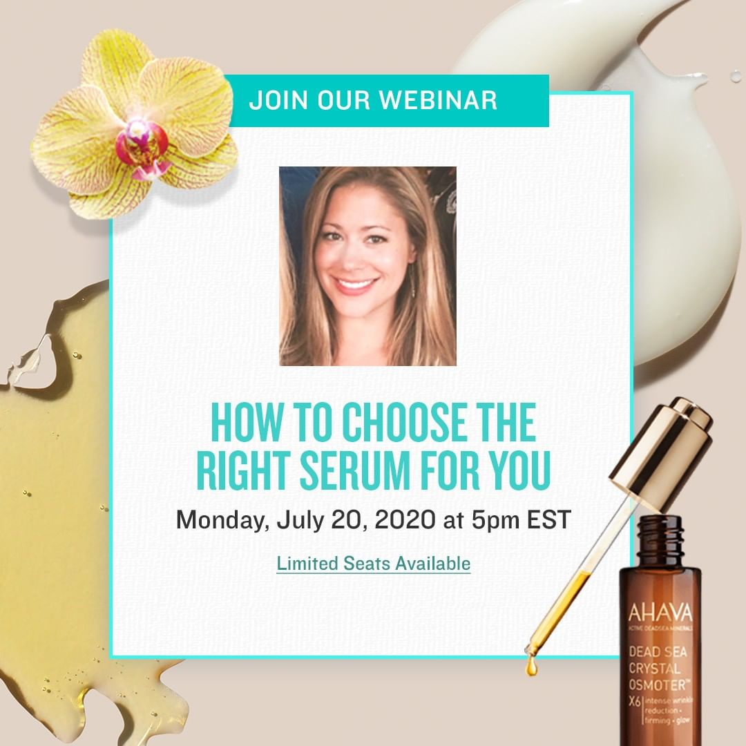 AHAVA - We are so excited to kickoff our new summer webinar series! This Monday 7/20 at 5pm EST, join us and brand ambassador @carolynbstine for a webinar on how to choose the right serum for you. Reg...