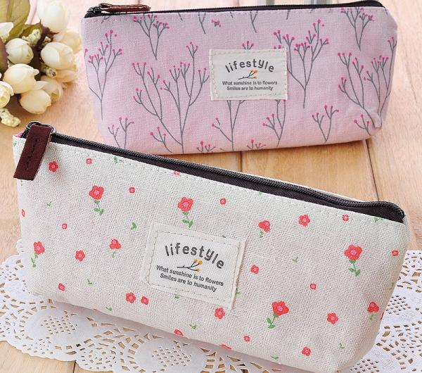 Косметичка Aliexpress   Hot Sale New Flower Floral Pencil Pen Canvas Case Cosmetic Makeup Tool Bag Storage Pouch Purse