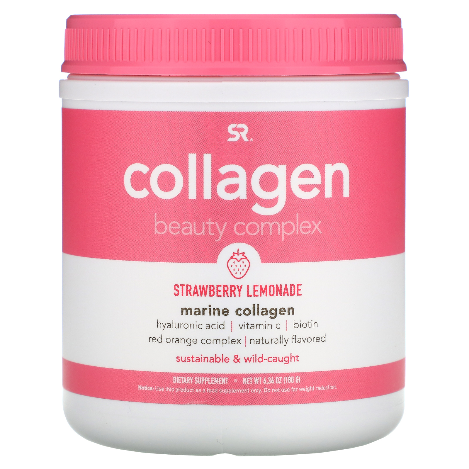 Sports Research, Collagen Beauty Complex, Marine Collagen, Strawberry Lemonade, 6.34 oz (180 g)
