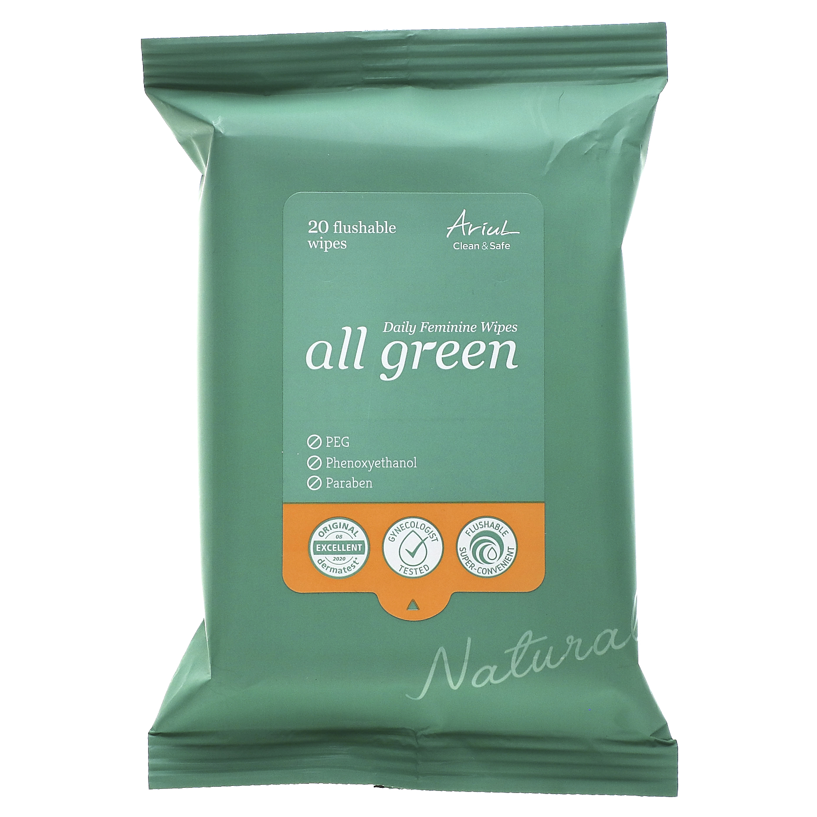 Ariul, All Green, Daily Feminine Wipes,  20 Flushable Wipes