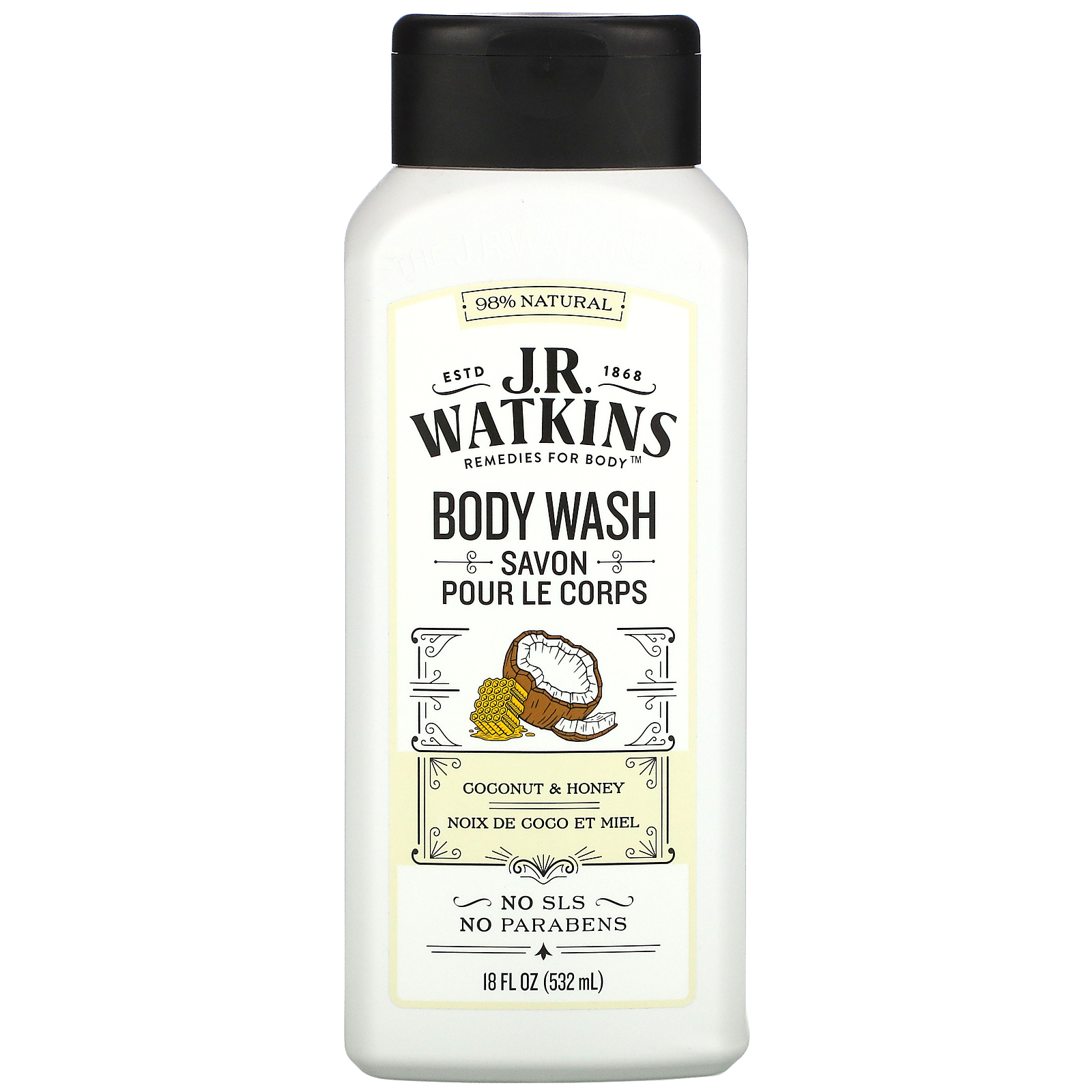 J R Watkins, Body Wash, Coconut & Honey, 18 fl oz (532 ml)