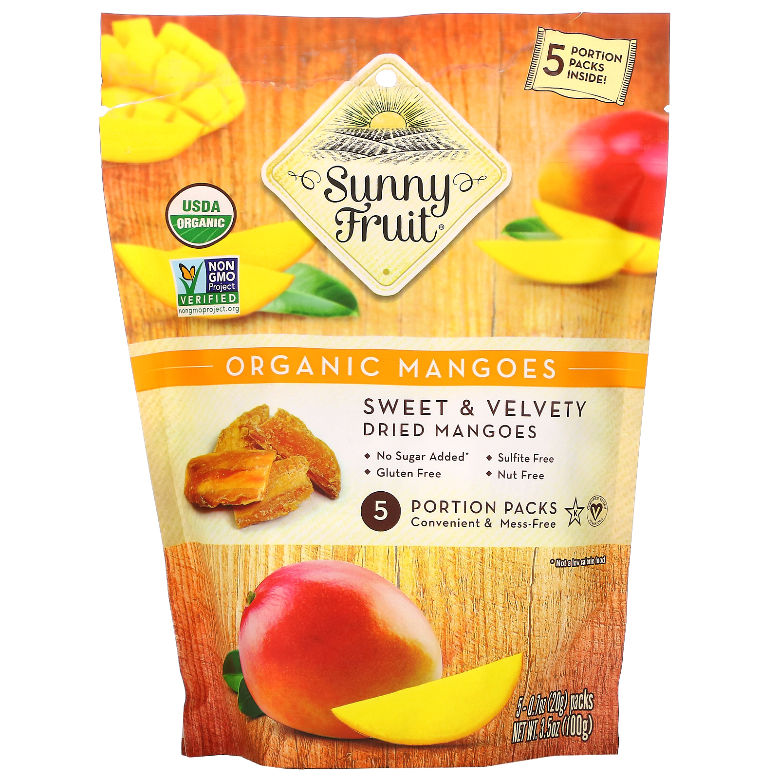 Sunny Fruit, Organic Mangoes, 5 Portion Packs, 0.7 oz ( 20 g) Each