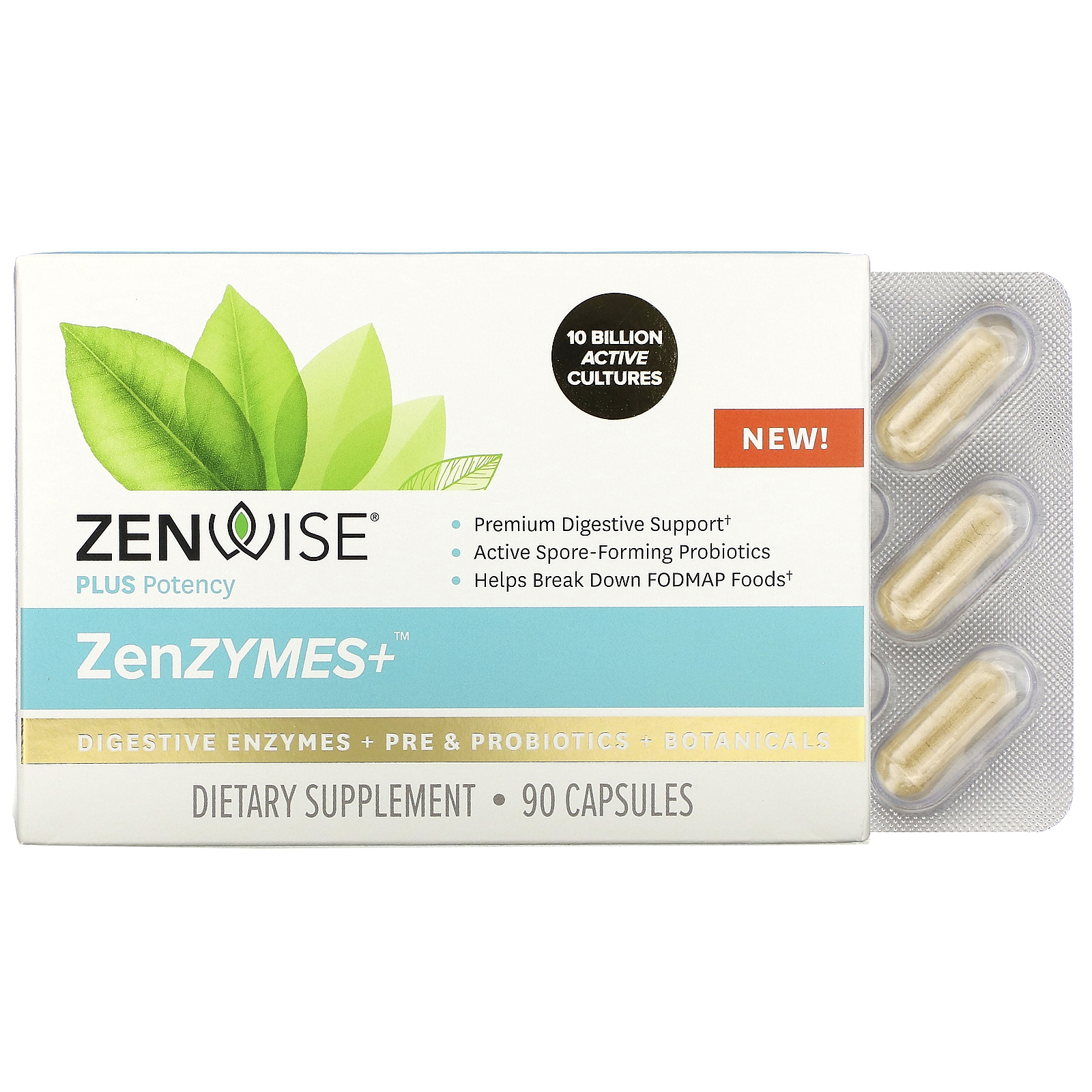 Zenwise Health, ZenZYMES+, Digestive Enzymes + Pre & Probiotics + Botanicals, 90 Capsules