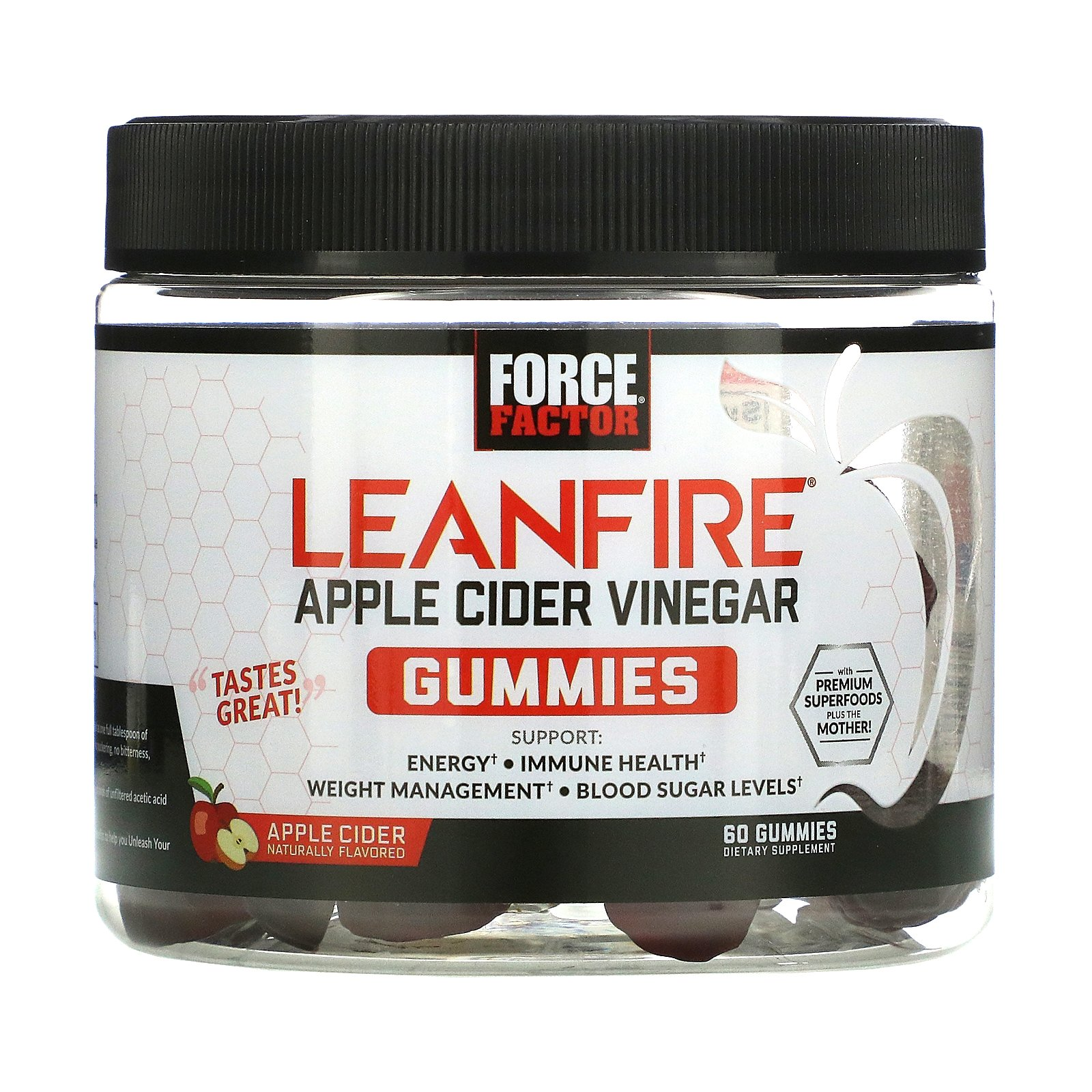 Force Factor, LeanFIre, Apple Cider Vinegar Gummies with Mother, Apple Cider Naturally Flavored, 60 Gummies
