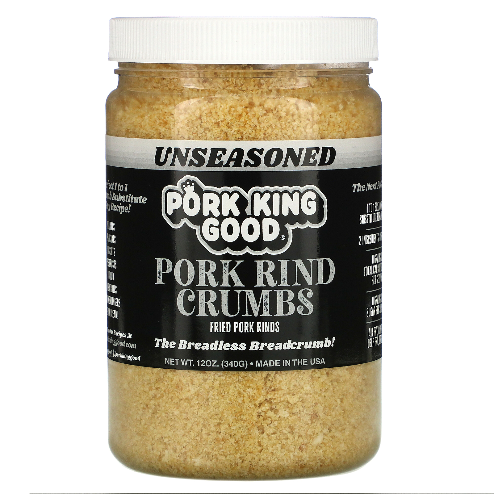 Pork King Good, Pork Rind Crumbs, Unseasoned, 12 oz (340 g)