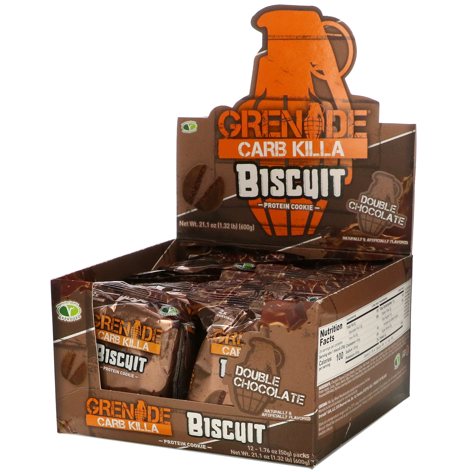 Grenade, Carb Killa, Biscuit, Double Chocolate, 12 Bars, 1.76 oz (50 g) Each