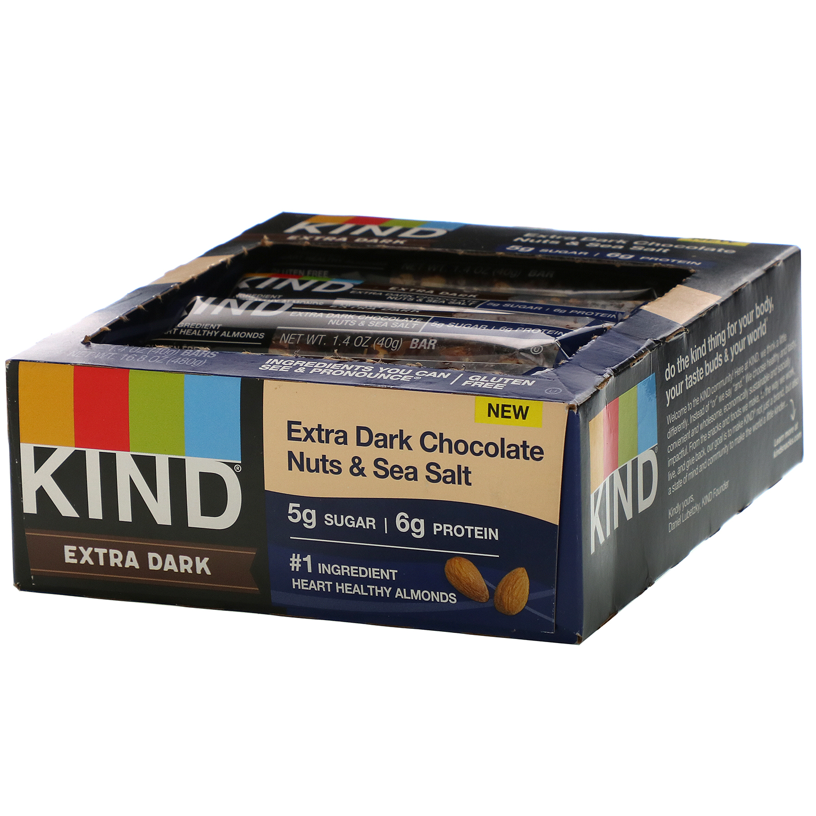 KIND Bars, Extra Dark Chocolate, Nuts & Sea Salt, 12 Bars, 1.4 oz (40 g) Each
