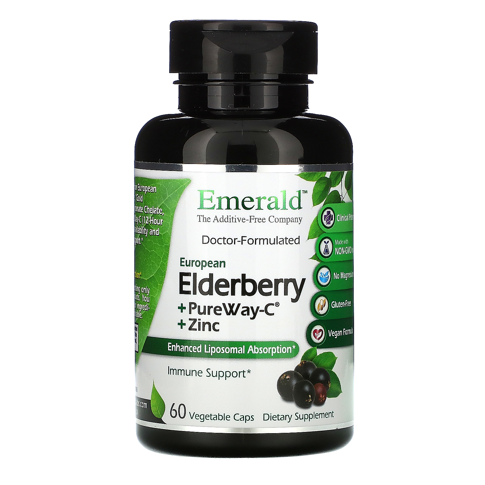Emerald Laboratories, Elderberry + PureWay C + Zinc, 60 Vegetable Caps