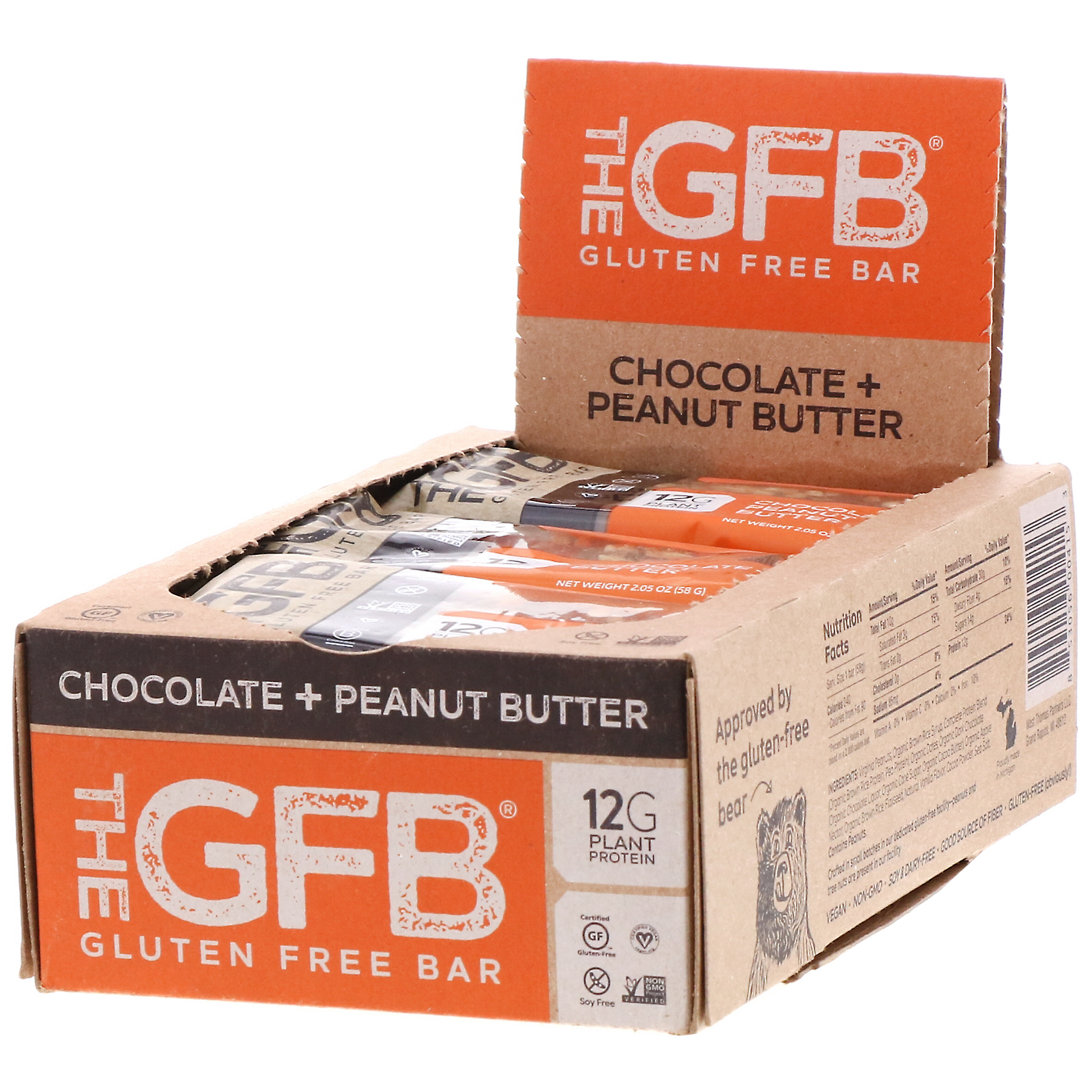 The GFB, Gluten Free Bar, Chocolate Peanut Butter, 2.05 oz (58 g)