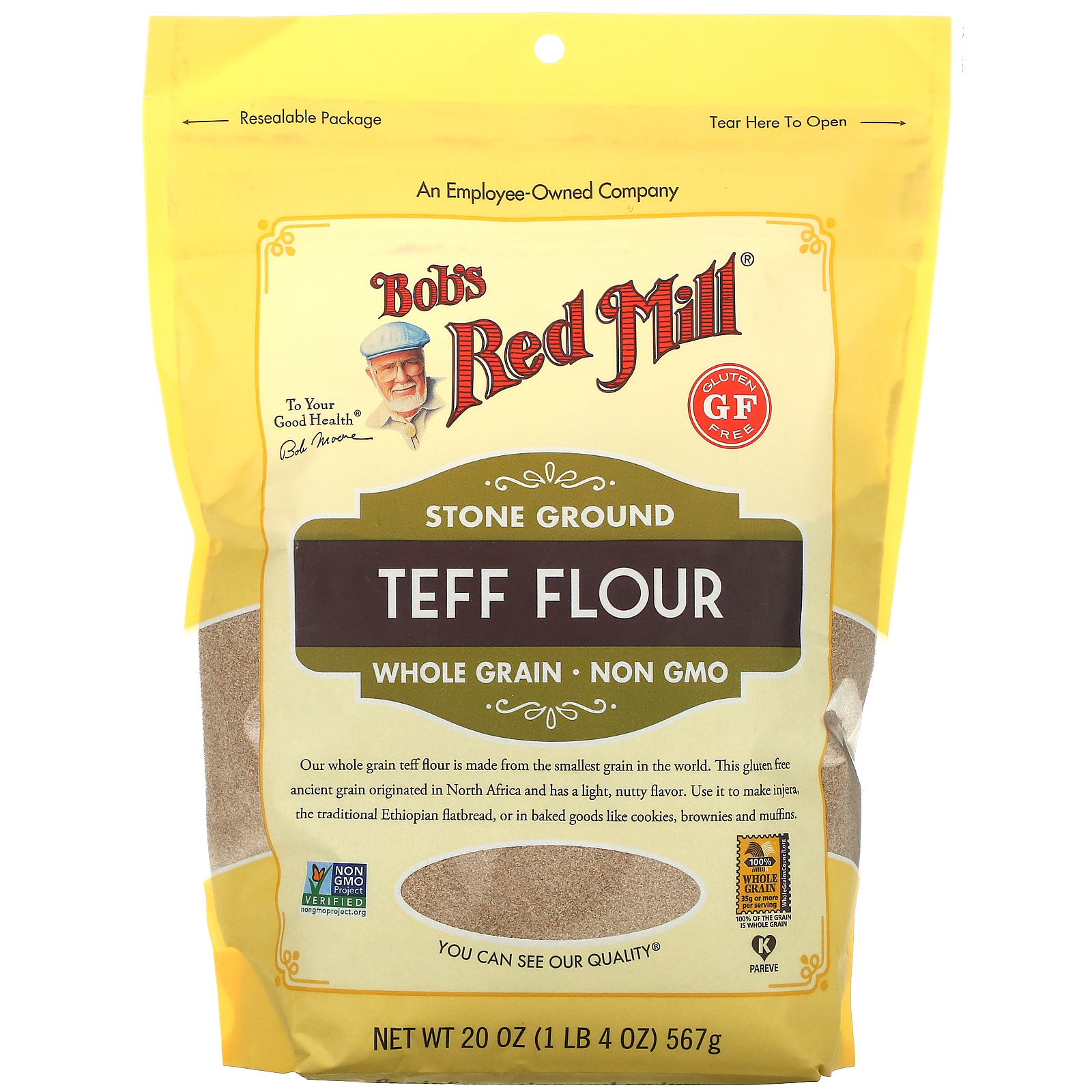 Bob's Red Mill, Stone Ground Teff Flour, Whole Grain, 20 oz ( 567 g)