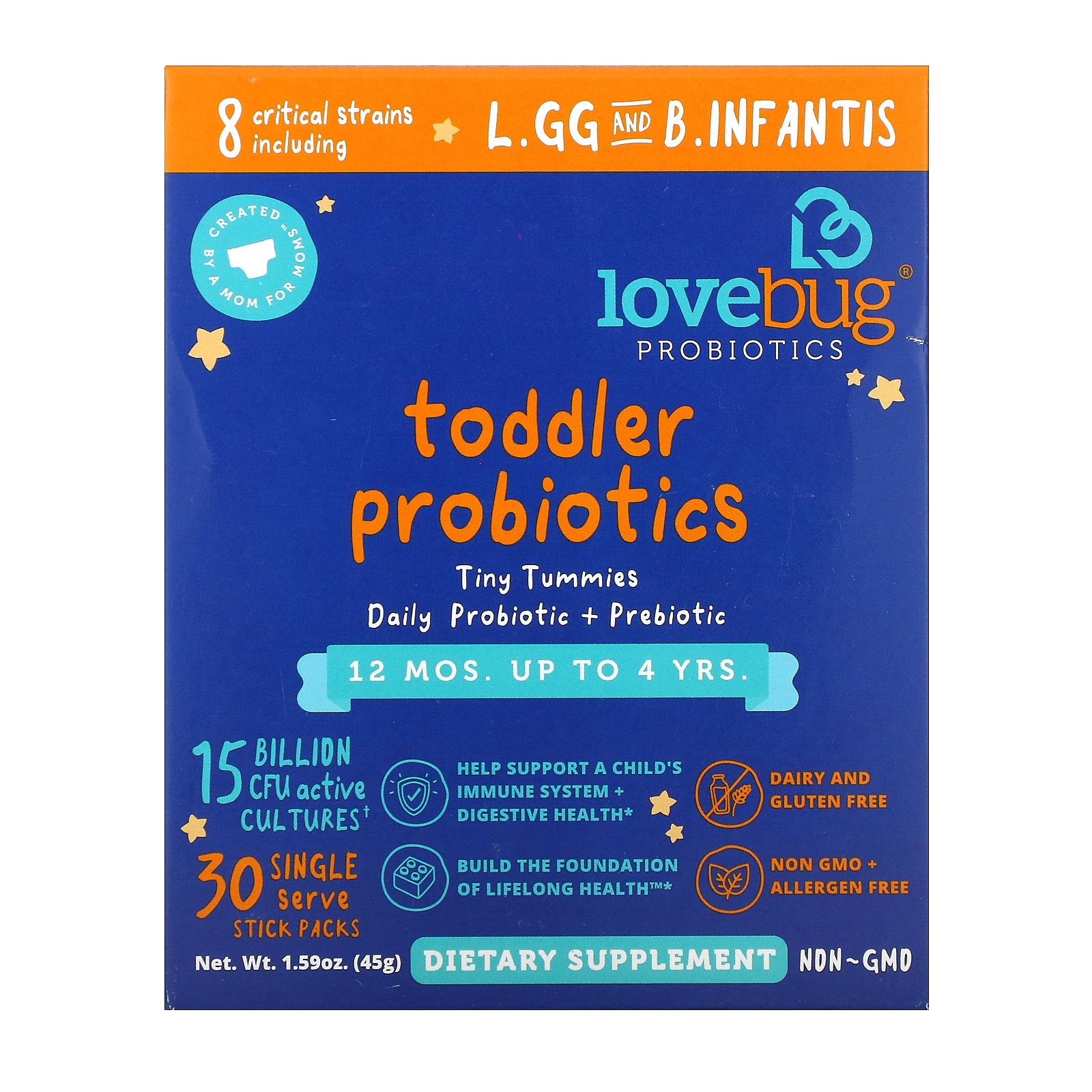 LoveBug, Toddler Probiotics, Tiny Tummies Daily Probiotic + Prebiotic, 12 Mos. Up To 4 Yrs., 30 Single Serve Stick Packs, 1.59 oz ( 45 g)