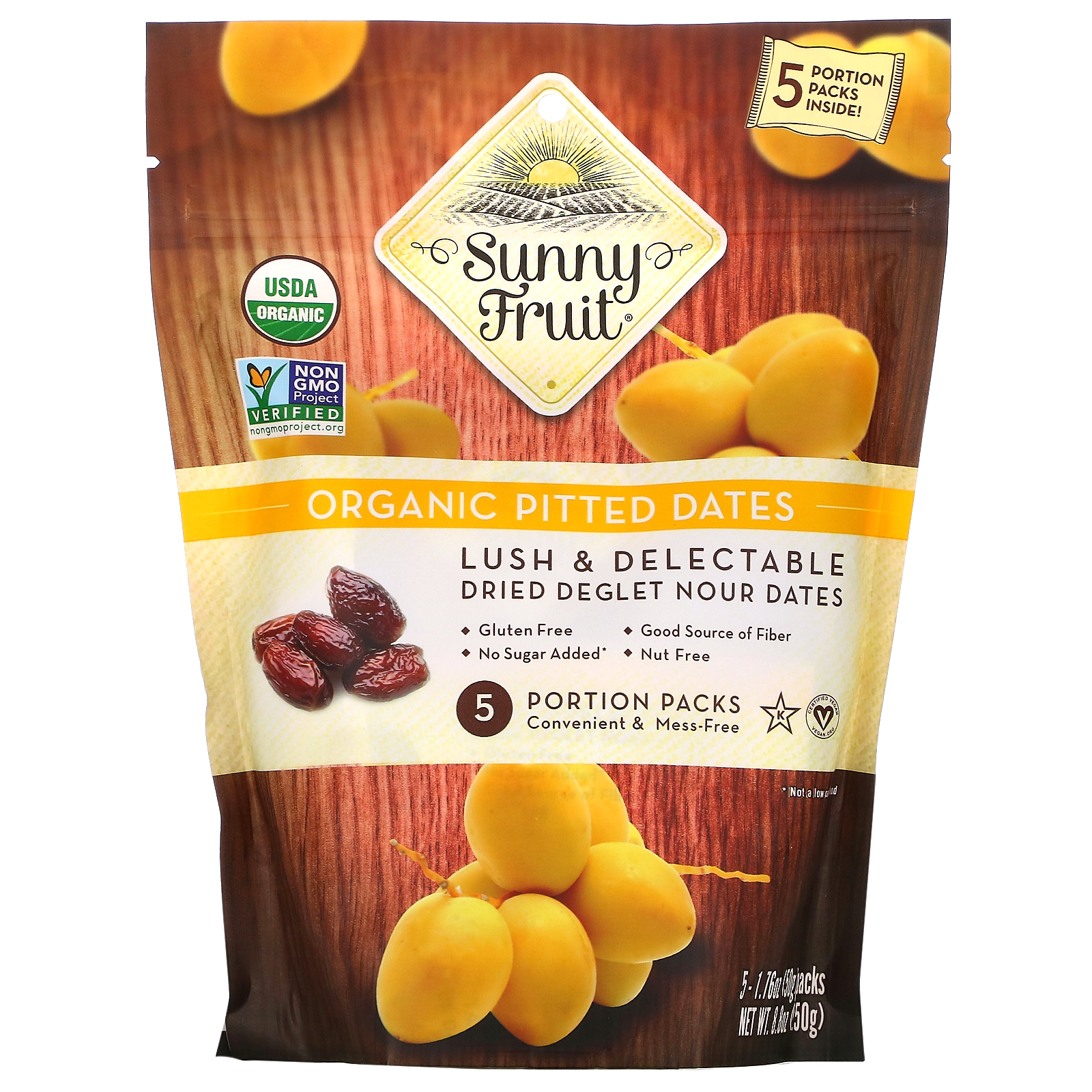 Sunny Fruit, Organic Pitted Dates, 5 Portion Packs, 1.76 oz ( 50 g) Each