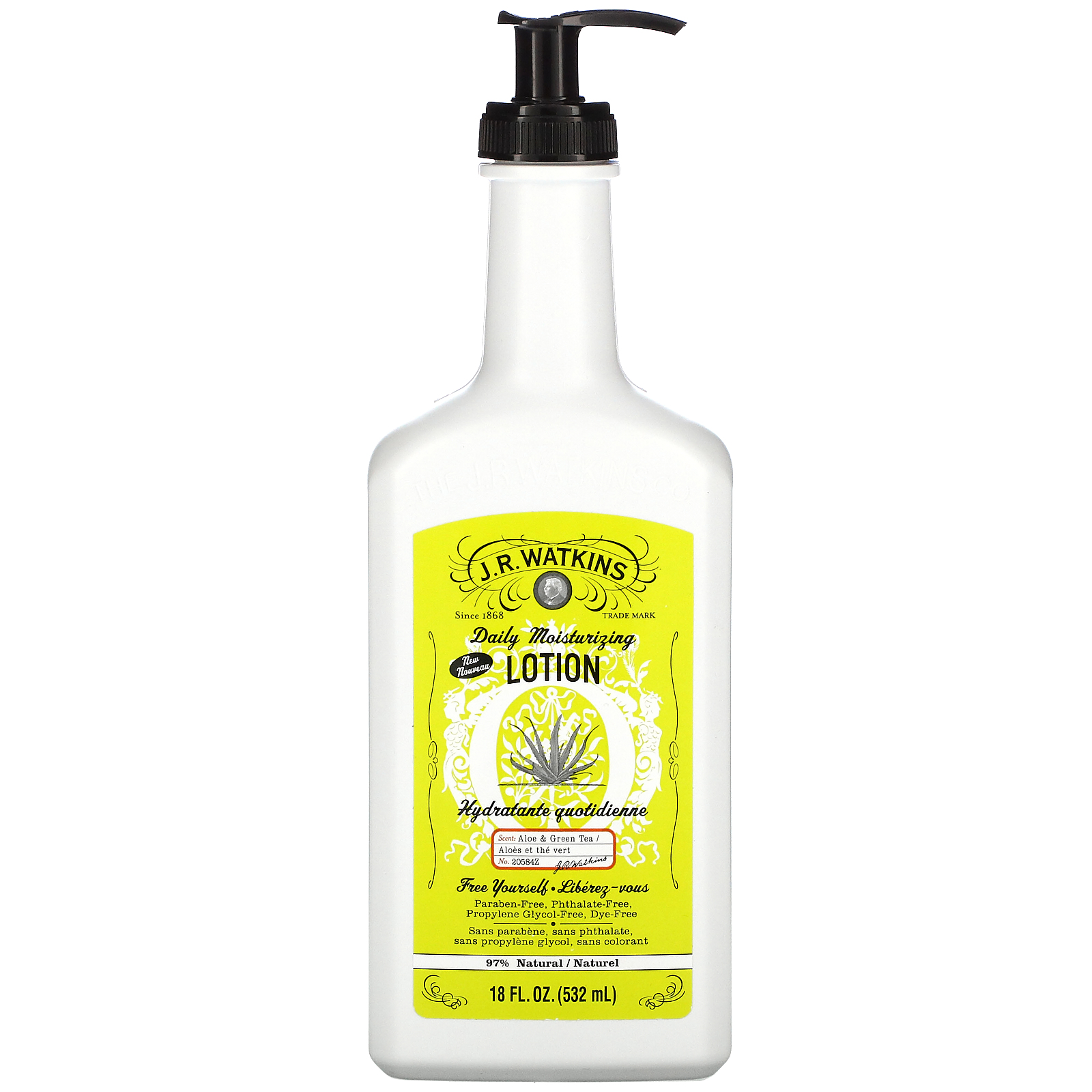 J R Watkins, Daily Moisturizing Lotion, Aloe & Green Tea, 18 fl oz (532 ml)