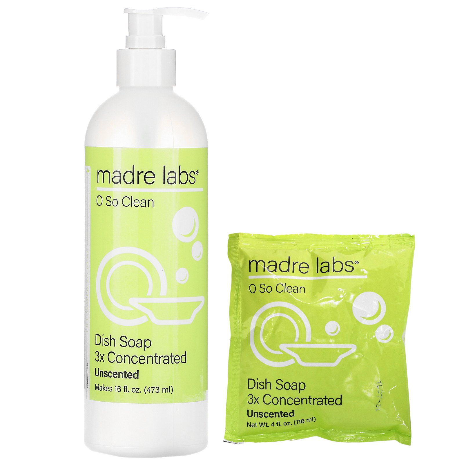 Madre Labs, Dish Soap, Unscented, 4 oz (118 ml)