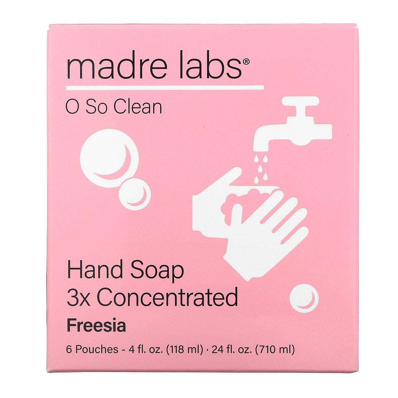 Madre Labs, Hand Soap, Freesia, 6 Pouches, 4 fl oz (118 ml) Each