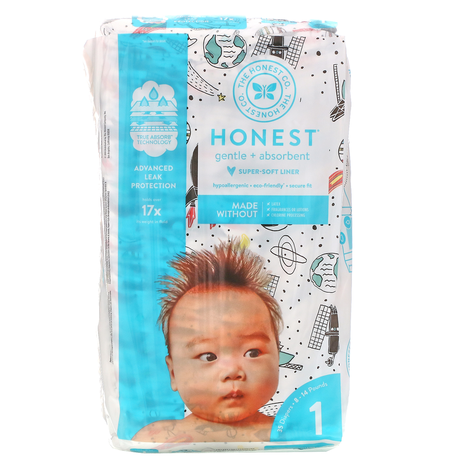 The Honest Company, Honest Diapers, Size 1, 8-14 Pounds, Space Travel, 35 Diapers