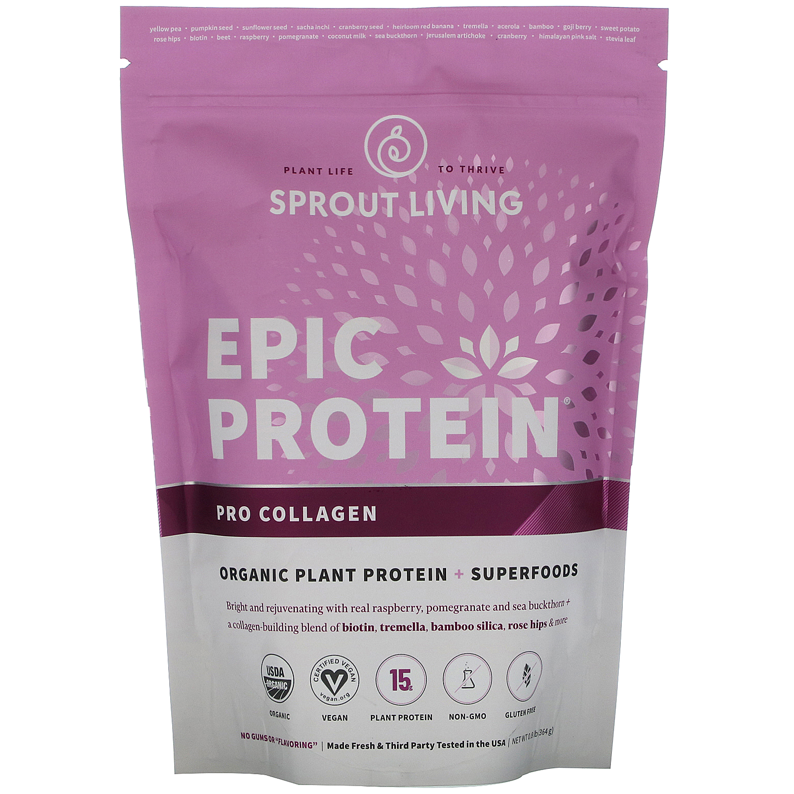 Sprout Living, Epic Protein, Organic Plant Protein + Superfoods, Pro Collagen, 0.8 lb (364 g)