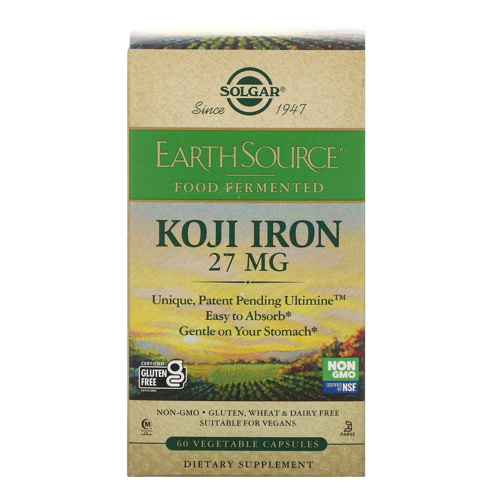 Solgar, EarthSource Food Fermented, Koji Iron, 27 mg, 60 Vegetable Capsules