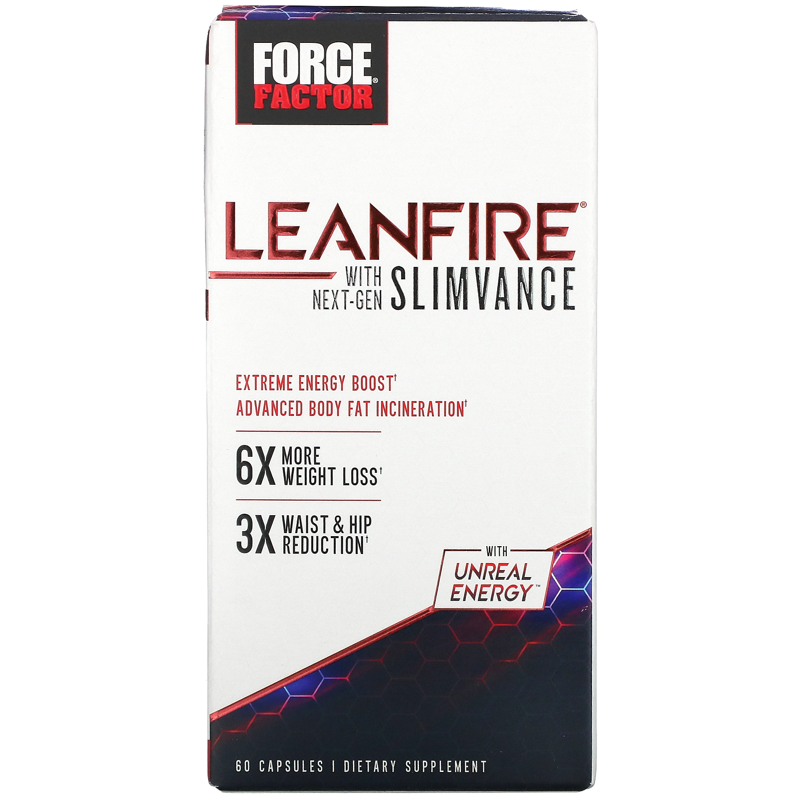 Force Factor, LeanFire with Next-Gen SLIMVANCE, 60 Capsules