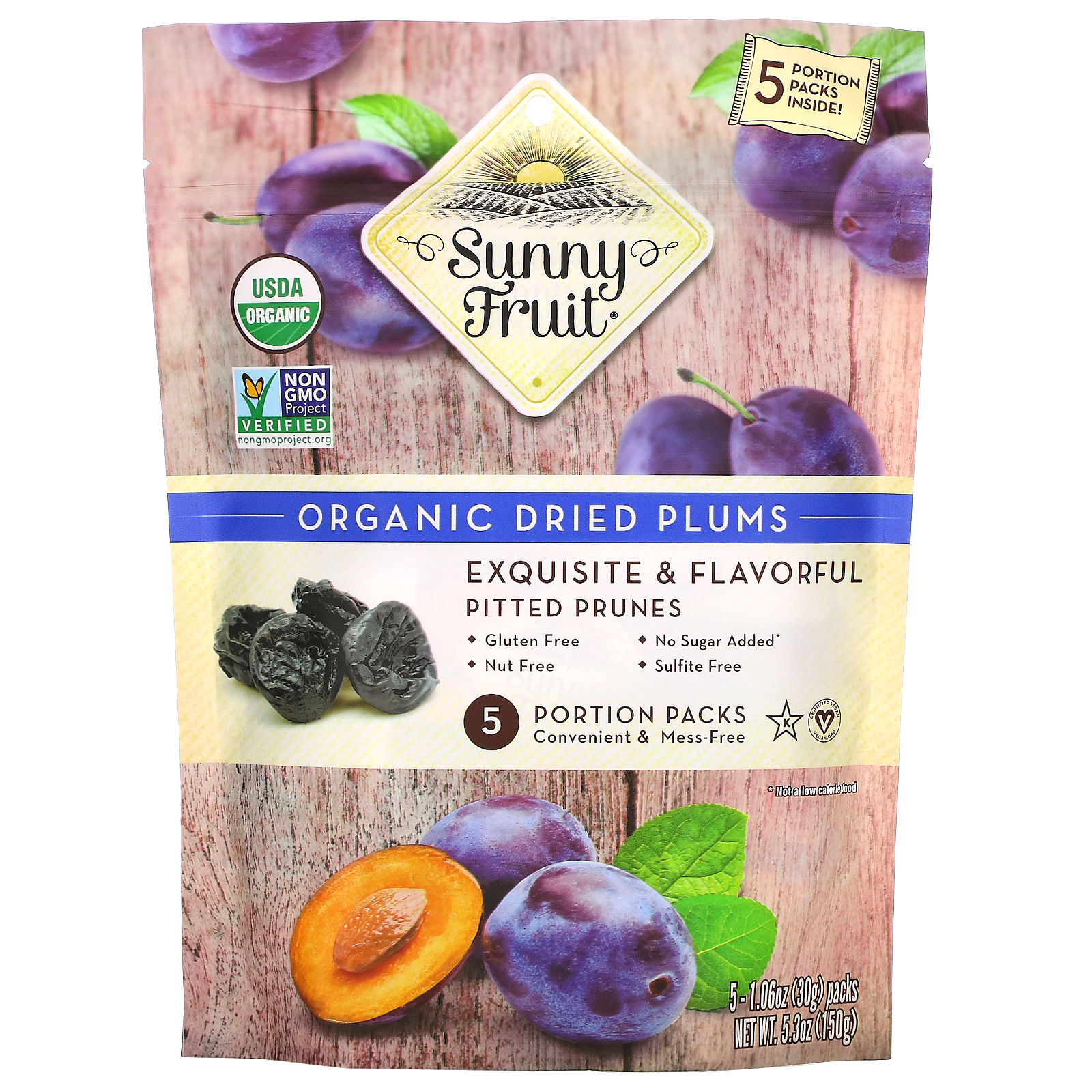 Sunny Fruit, Organic Dried Plums,  5 Portion Packs, 1.06 oz ( 30 g) Each