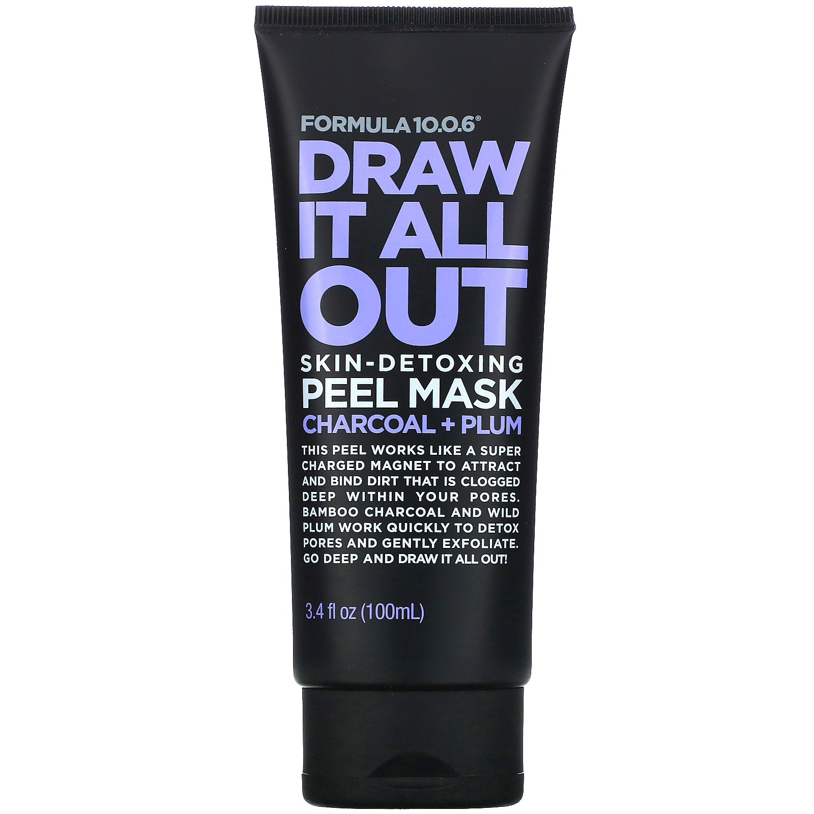 Formula 10.0.6, Draw It All Out, Skin-Detoxing Peel Mask, Charcoal + Plum, 3.4 fl oz (100 ml)