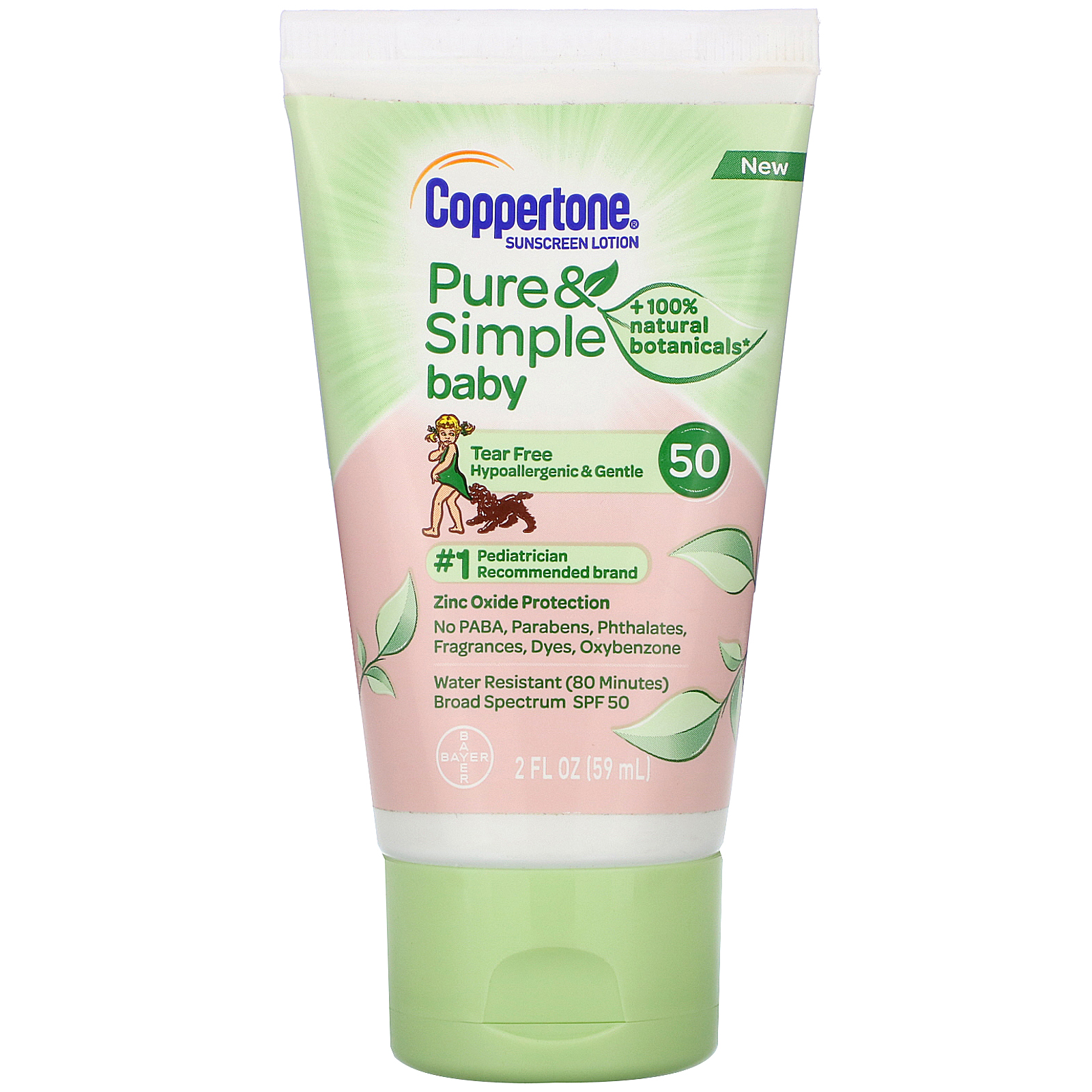 Coppertone, Baby, Pure & Simple, Sunscreen Lotion, SPF 50, 2 fl oz (59 ml)