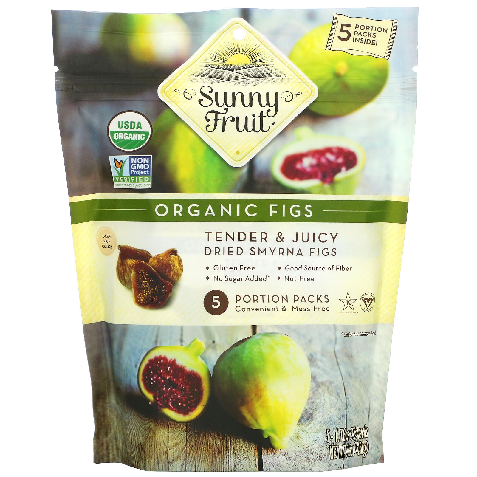 Sunny Fruit, Organic Figs, 5 Portion Packs, 1.76 oz ( 50 g) Each