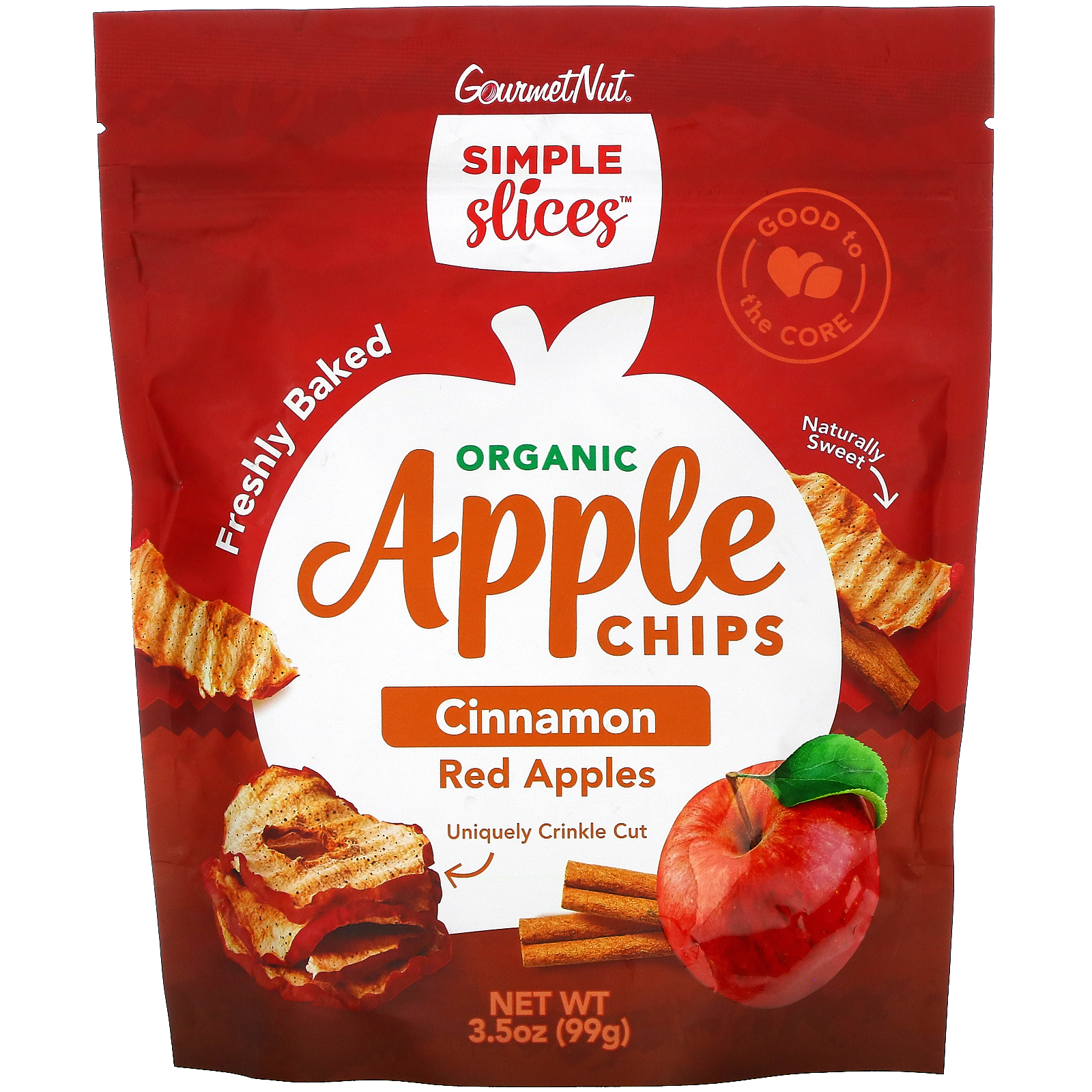 Simple Slices, Organic Apple Chips, Cinnamon Red Apples, 3.5 oz (99 g)