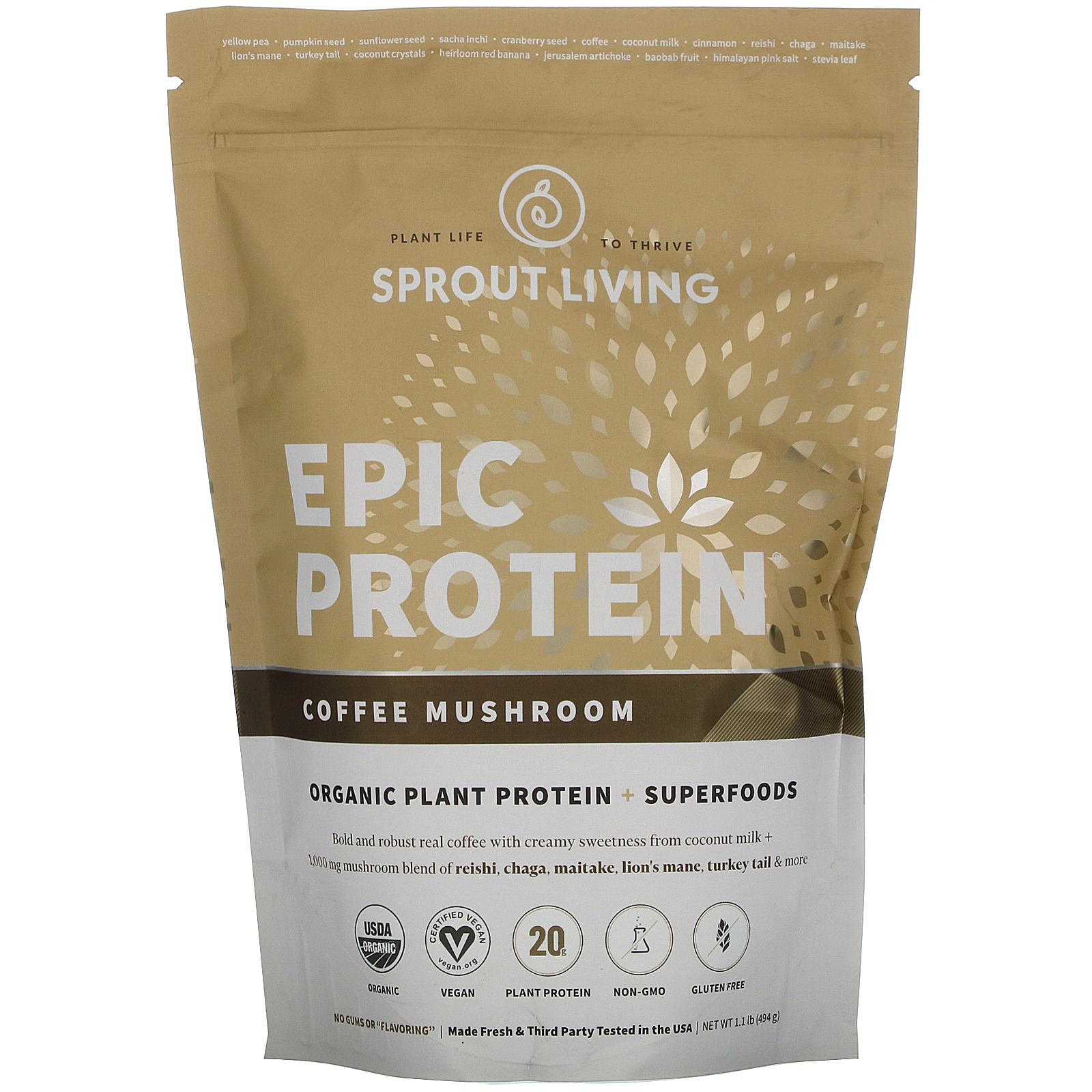 Sprout Living, Epic Protein, Organic Plant Protein + Superfoods, Coffee Mushroom, 1.1 lb (494 g)