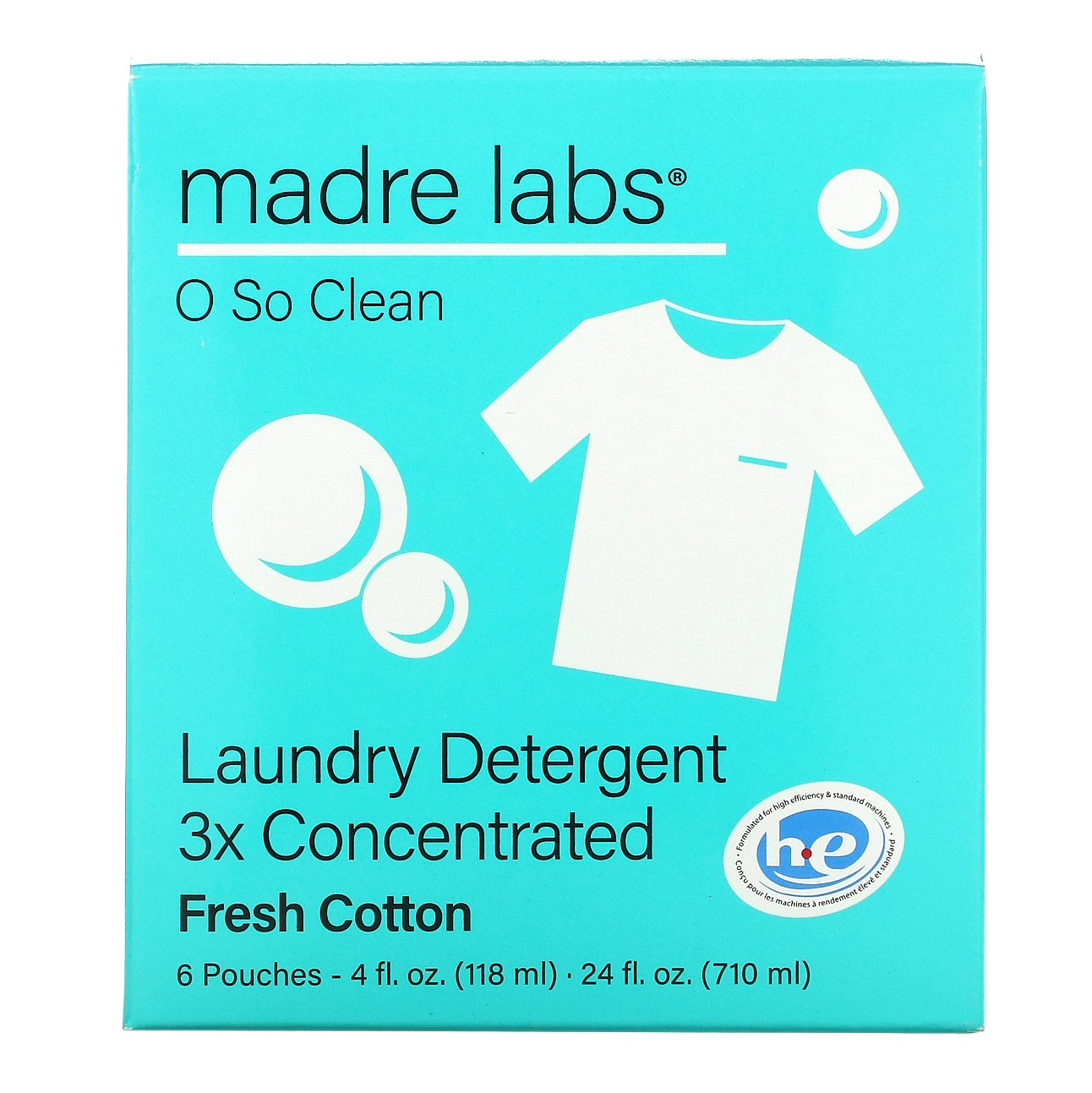 Madre Labs, Laundry Detergent, Fresh Cotton, 6 Pouches, 4 fl oz (118 ml) Each
