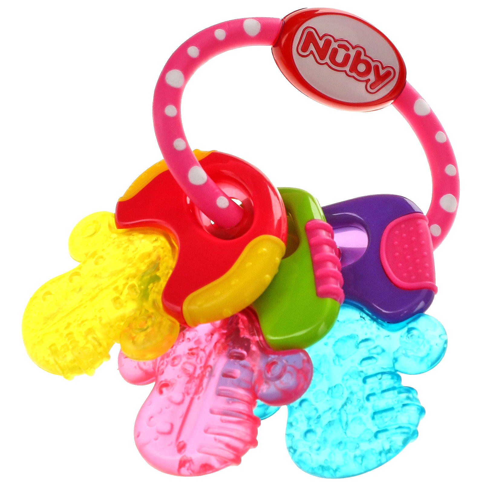 Nuby, Soothing Teether, Icy Bite Keys, 3+ Months, Perfectly Pink, 1 Count