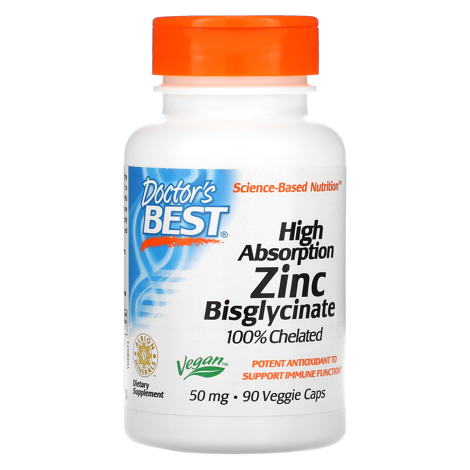 Doctor's Best, High Absorption Zinc Bisglycinate, 100% Chelated, 50 mg , 90 Veggie Caps